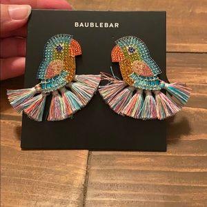 NEW! Baublebar parrot/Macau earrings. Bead/tassel